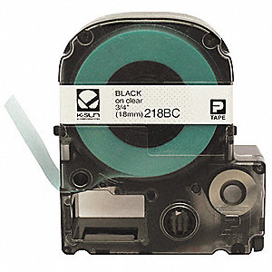 "Black on Clear Polyester Cartridge Label, Indoor/Outdoor Label Type, 26 ft. Length, 3/4"" Width"