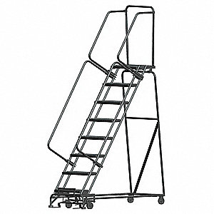 "8-Step Rolling Ladder, Serrated Step Tread, 113"" Overall Height, 450 lb. Load Capacity"