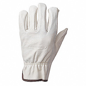 Cowhide Leather Driver's Gloves with Shirred Cuff, White, XL