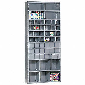 "Enclosed Bin Shelving,85"" H,18 Bins,Gray"