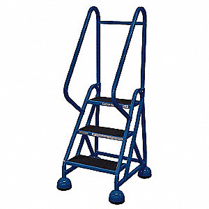 "3-Step Rolling Ladder, Antislip Vinyl Step Tread, 57"" Overall Height, 450 lb. Load Capacity"