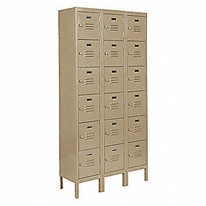 Box Locker,Unassem,(18) Person,15inD,Tan