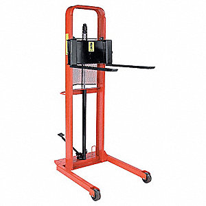 "Straddle Stacker, 1000 lb., Fork Width 3"", Fork Length 30"", Lifting Height Max. 76"""