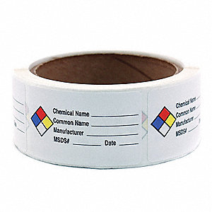 Hazard Chemical Label,Roll,PK250