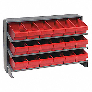 "Steel Bench Pick Rack with 18 Bins, 36""W x 12""D x 21""H, Load Capacity: 240 lb., Gray"