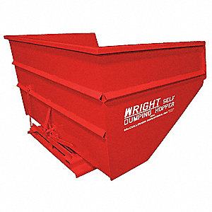 "Red Self-Dumping Hopper, 135.0 cu. ft., 6000 lb. Load Cap., 55"" H X 70-1/2"" L X 99-3/4"" W"