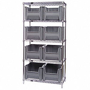 "42"" x 18"" x 74"" Bin Shelving with 800 lb. Load Capacity, Blue"