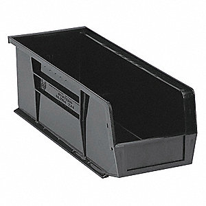 "Hang and Stack Bin, Black, 14-3/4"" Outside Length, 5-1/2"" Outside Width, 5"" Outside Height"