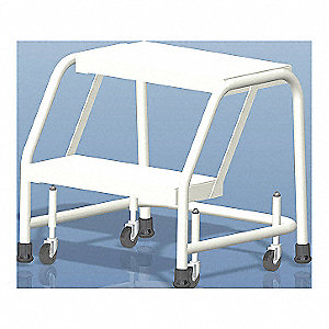 "2-Step Rolling Ladder, Rubber Mat Step Tread, 19"" Overall Height, 350 lb. Load Capacity"