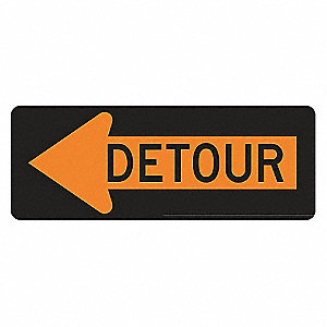Detour Sign,18 x 48In,BK/ORN,Detour