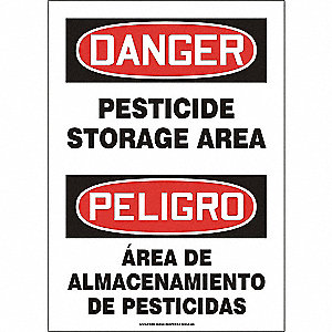 "Pesticide, Danger/Peligro, Plastic, 14"" x 10"", With Mounting Holes, Not Retroreflective"