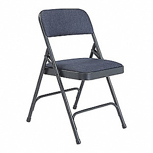 Char Blue Steel Folding Chair With Blue Seat Color, 4PK