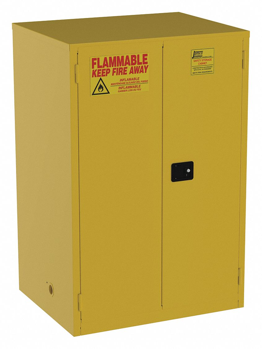 90 gal Flammable Cabinet,  Manual Safety Cabinet Door Type,  65 in Height,  43 in Width