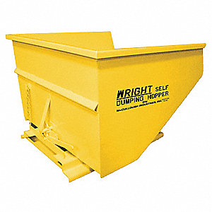 "Yellow Self-Dumping Hopper, 67.5 cu. ft., 5000 lb. Load Cap., 46"" H X 64"" L X 69-3/4"" W"