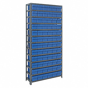 "Steel Bin Shelving with 72 Bins, 36""W x 18""D x 75""H, Load Capacity: 5200 lb., Gray"