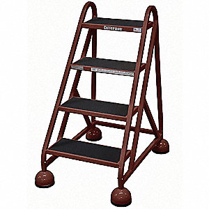 "4-Step Rolling Ladder, Antislip Vinyl Step Tread, 40"" Overall Height, 450 lb. Load Capacity"