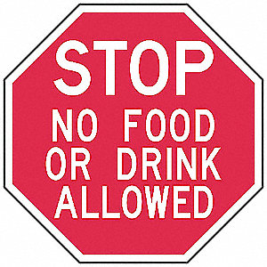 "Eating and Drinking Restriction, No Header, Aluminum, 6"" x 6"", Surface, High Intensity Prismatic"