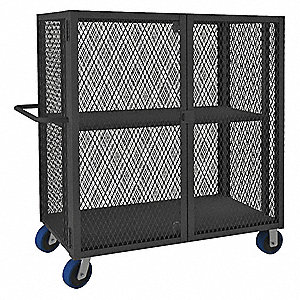 "78-1/2""L x 38-1/16""W x 56-7/16""H Gray Steel Security Truck, 2000 lb. Load Capacity"