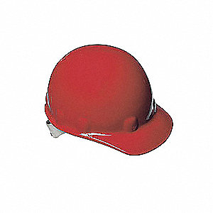 Front Brim Hard Hat, 8 pt. Ratchet Suspension, Red, Hat Size: 6-1/2 to 8