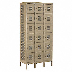 Vent Box Lckr,Assem,18 Person,12inD,Tan