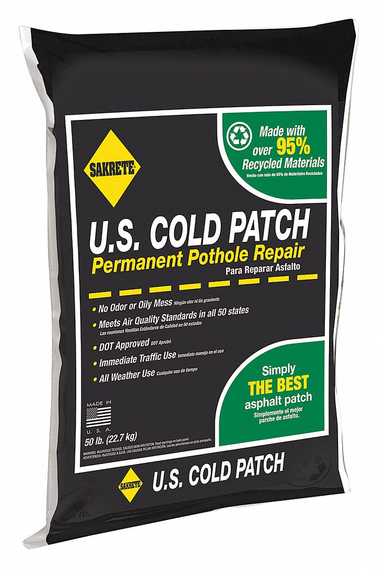 Black Cold Patch, 50 lb Bag, Coverage: 2 sq ft @ 3 in