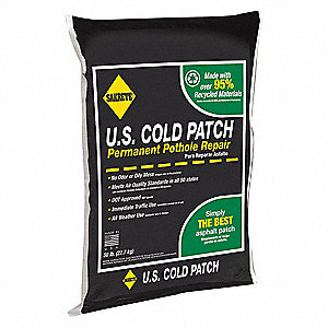 "Solid U.S. Cold Patch, 50 lb. Size, Bag Container Type, Coverage: 1 ft. x 2 ft.  x 3"" Deep Pothole"