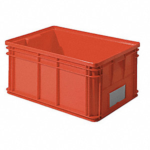 "Straight Wall Container, Red, 12""H x 26""L x 19""W, 1EA"