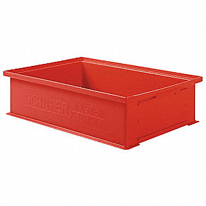 "Straight Wall Container, Red, 5""H x 19""L x 13""W, 1EA"