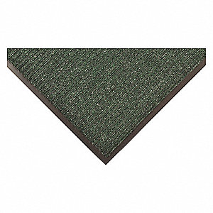 "Indoor Entrance Mat, 8 ft. L, 4 ft. W, 3/8"" Thick, Rectangle, Green"