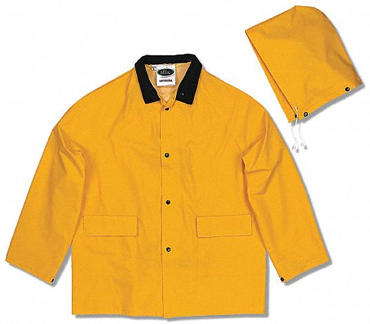 3-Piece Rain Suit with Jacket/Bib Overall, ANSI Class: Unrated, L, Yellow, High Visibility: No