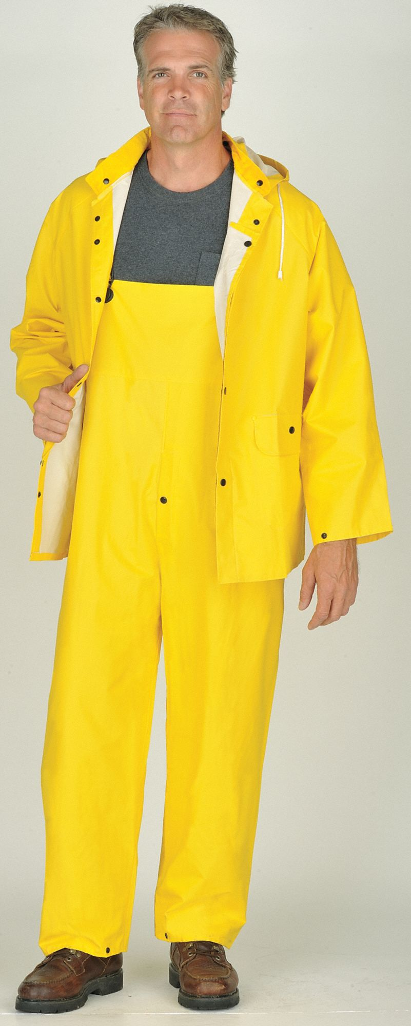 3-Piece Rain Suit with Jacket/Bib Overall, ANSI Class: Unrated, XL, Yellow, High Visibility: No