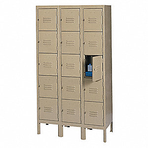 "Tan Box Locker, (3) Wide, (5) Tier , Openings: 15, 36"" W X 12"" D X 66"" H"