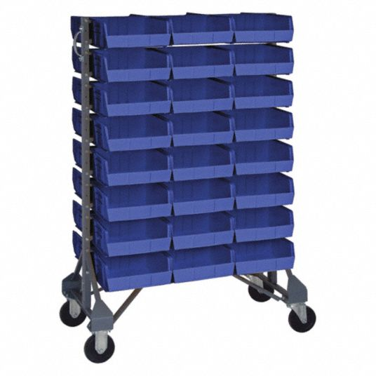 Quantum Storage Systems 2 Sided Mobile Bin Rail Floor Rack With 48 Bins 53 Inh X 20 Inw X 36 Ind Gray 8erp3 Mqru 16d 235 48bl Grainger