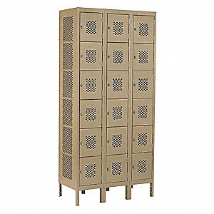 Box Locker,Ventilated,3 Wide, 6 Tier,Tan