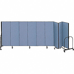 16 ft. 9 in. x 8 ft., 9-Panel Portable Room Divider, Blue