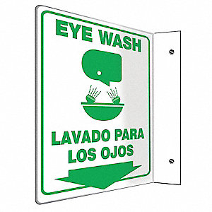 "Eyewash and Shower, No Header, Plastic, 12"" x 9"", With Mounting Holes, L-Shaped, Not Retroreflective"