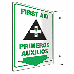 "First Aid, No Header, Plastic, 12"" x 9"", With Mounting Holes, L-Shaped, Not Retroreflective"