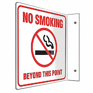 No Smoking Sign,8 x 8In,R and BK/WHT,ENG