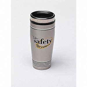 Travel Mug,Take Safety Everywhere,18 oz.