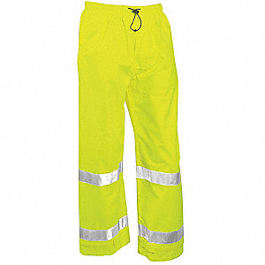 Rain Pants, High Visibility: Yes, ANSI Class: Class E, Polyester, Polyurethane, XL, Yellow\Green