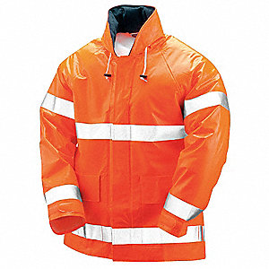 Arc Flash Rain Jacket W/Hd,M,HiVis Orng