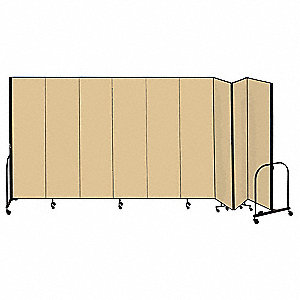 16 ft. 9 in. x 6 ft. 8 in., 9-Panel Portable Room Divider, Beige
