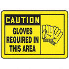 Caution: Gloves Required In This Area Signs