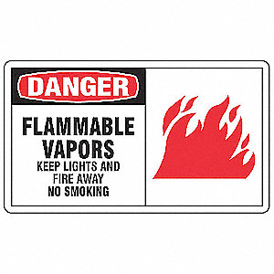 Sign,7x10 In,Danger Flammable Vapors