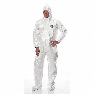Hooded Chemical Resistant Coveralls with Elastic Cuff, White, 4XL, Tychem® SL