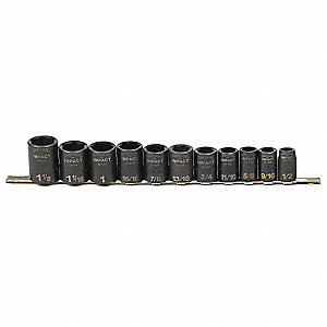 Impact Socket Set,1/2 In Dr,11 pc
