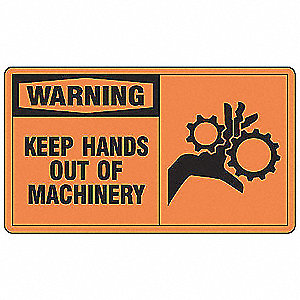 "Keep Hands Clear, Warning, Plastic, 7"" x 10"", With Mounting Holes, Not Retroreflective"