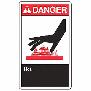 "Hot, Danger, Aluminum, 10"" x 7"", With Mounting Holes, Not Retroreflective"
