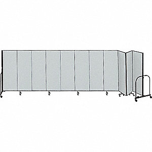 20 ft. 5 in. x 8 ft., 11-Panel Portable Room Divider, Gray