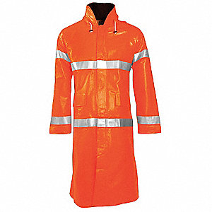 Arc Flash Rain Coat W/Hd,XL,HiVis Orng